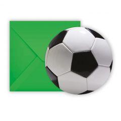 Invitasjonskort/konvolutter Fotball 6 stk Procos