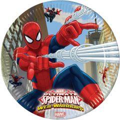 Papptallerken Spiderman Web 23 cm, 8 stk