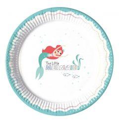 Papptallerken Ariel under the Sea 23 cm, 8 stk