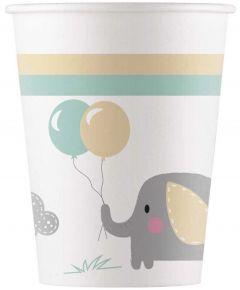 Drikkekrus i papp, Babyshower Elefant8 stk