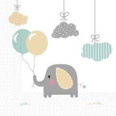 Papirservietter Babyshower Elefant 20 stk, 33x33cm