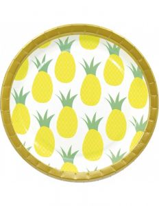 Papptallerken Pineapple 23 cm, 8 stk