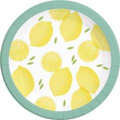 Papptallerken Lemon 23 cm, 8 stk