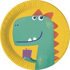 Papptallerken Dinosaur 23 cm, 8 stk COMPOSTABLE