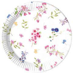Papptallerken Blomster Compostable 23 cm, 8 stk