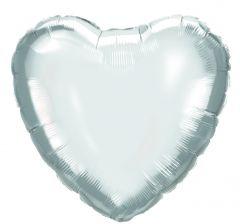 Ballong Hjerte Sølv Folie 46 cm