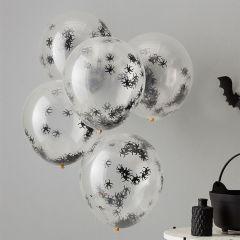 Ballonger med Confetti Edderkopp 30 cm, 5 stk
