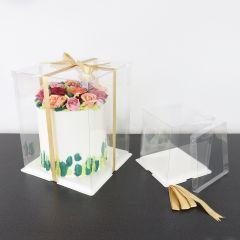 Kakeboks Klar plast med brett Ø 20 cm, H 28 cm