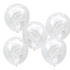 Ballong med Confetti i Hvitt 30 cm, 5 stk