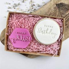 Swirls and Curls Happy Birthday Cookie Stamp