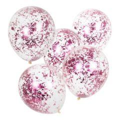 Ballong med Confetti Rosa, Str ca 30 cm, 5 stk