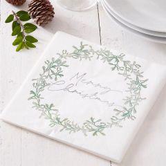 Servietter Merry Christmas Mistletoe, 16 stk