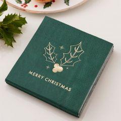 Servietter Merry Christmas Grønn, 16 stk